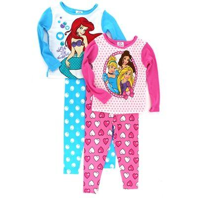 Sleep like royalty in these adorable Disney Princess girls 4 pc pajamas. Free shipping!