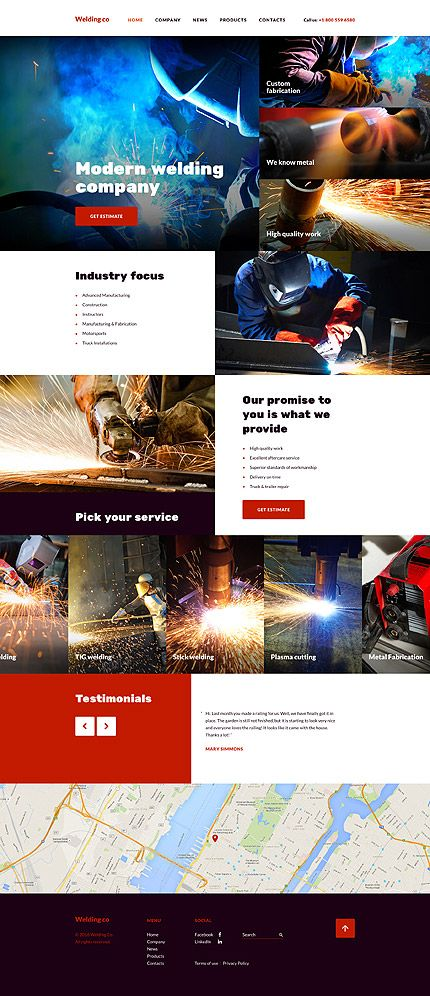 $75 - Welding Co Website Template   This #responsive welding web template is designed for #industrial, scientific, architectural, or, in fact, any other site due to extensive customizability. Its layout has a split screen structure, which can let you give prominence to two different types of content equally well. For example, the left side features a bulleted list outlining your major services in brief, while the right one is meant to complement the info visually.