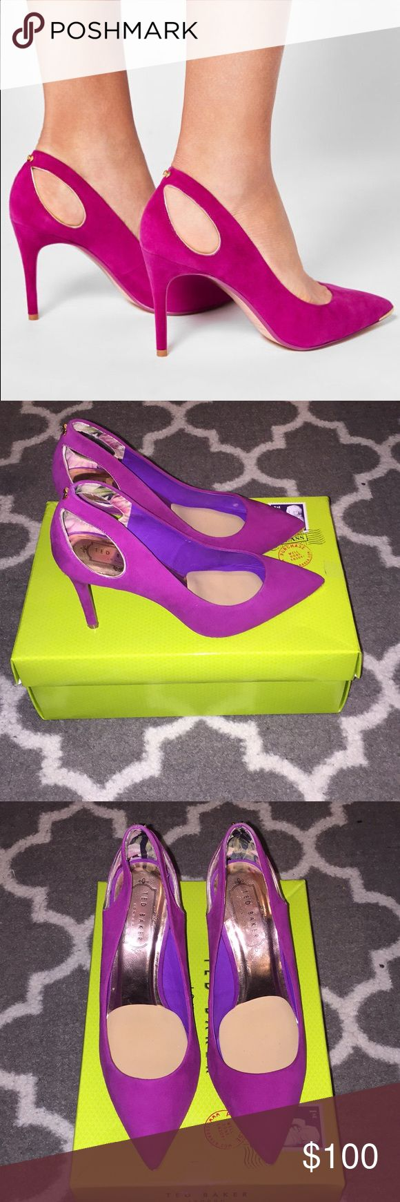 Ted Baker Cut Out Heels Worn only once; love these shoes, but they run a bit on the bigger side; US6, but fits like a 7; I'm a true 6 1/2; comes in only whole sizes; so if you're a 7 or 7 1/2 they will fit. Original price is tax included; suede leather; box included. Color is more purple than pink. Ted Baker Shoes Heels