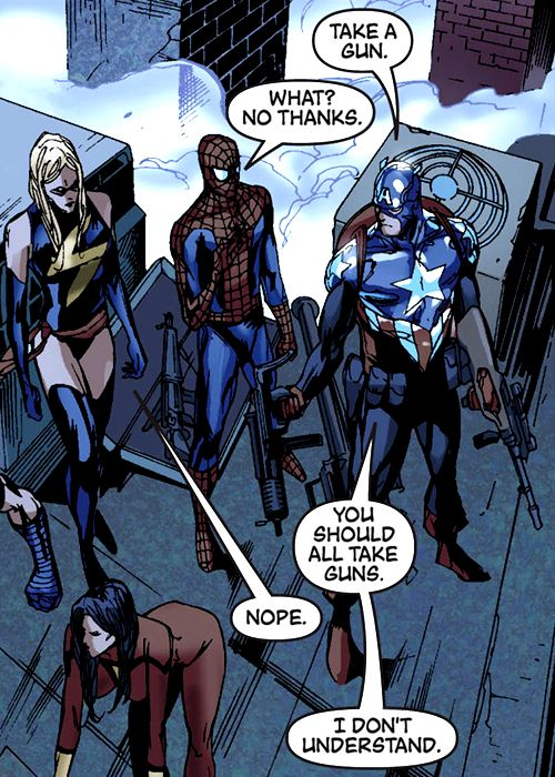"Captain America, Spider-Man, Ms. Marvel & Wolverine (from the New Avengers #53) by Billy Tan - ""You should all take guns."""