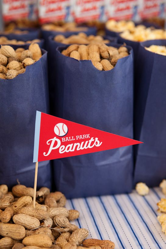 Love Of Family & Home: Baseball Birthday Party Inspiration... Bag of peanuts