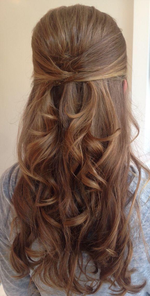 Bridesmaid Hair Half Up Simple Bridesmaid Hair Updo Ponytail Weddinghairmediumlength Hair Styles Curly Wedding Hair Half Up Hair