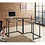 Black Metal Glass Corner Computer Desk Stylish, contemporary design. Polished and beveled, tempered safety glass. Textured, https://thehomeofficesupplies.com/black-metal-glass-corner-computer-desk/