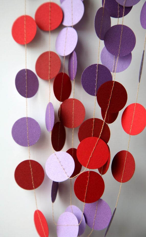 purple themed bridal shower%0A MA Purple red garland  Paper garland  Dots garland  Radiant orchid red  garland Birthday Decorations  Bridal shower Nursery decoration by
