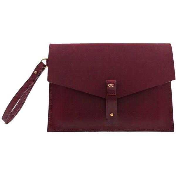 Olive Cooper - Mayfair Envelope Clutch Oxblood found on Polyvore featuring bags, handbags, clutches, genuine leather purse, antique leather purse, leather purse, leather clutches and antique handbags