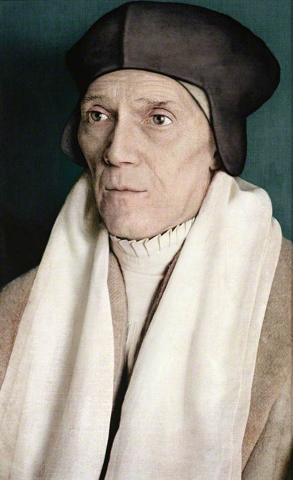Contemporary recreation of a lost Holbein? painted 2007 - St. John Fisher (1469–1535), Bishop of Rochester, Confessor and Adviser to Lady Margaret Beaufort -  (follows the Holbein preparatory drawing in the Royal Collection at Windsor)