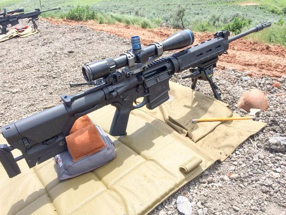 Five Things to Know About Long Range Shooting, Stability is everything. We got great results with this Smith & Wesson M&P 10 from the prone position with a bipod and sandbags.