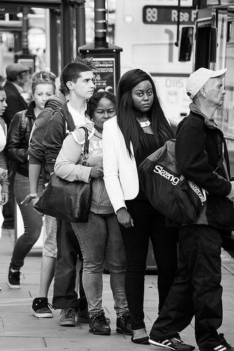 In the Bus Queue Nottingham England September 2013