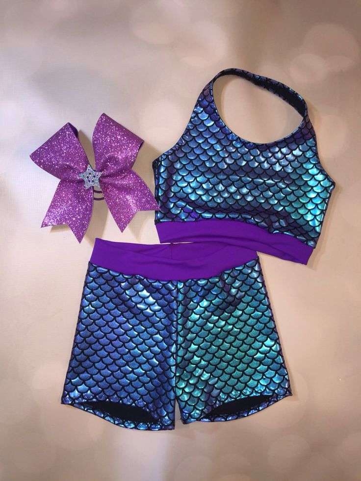 """The """"Arista"""" Mermaid Crop Top sports bra, Shorts, and"""