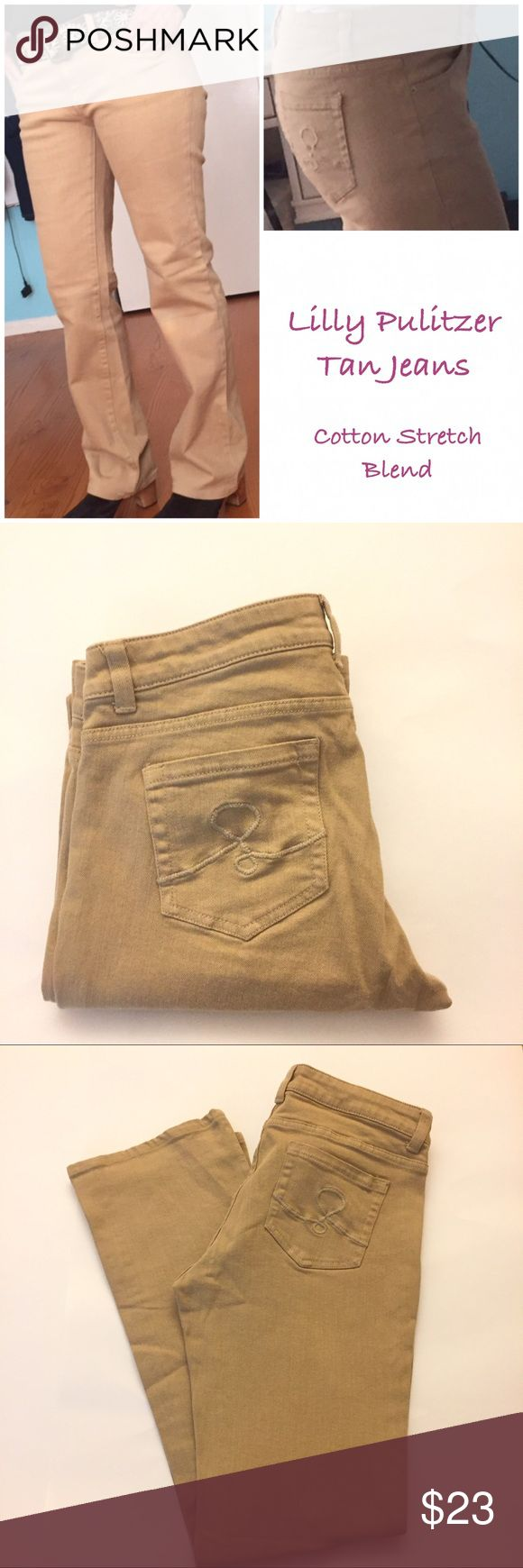 "Lilly Pulitzer TAN Jeans Marked size 8, Palm beach fit, waist 33"", inseam 31"", front rise 9"", bottom leg opening 8"",fabric cotton stretch blend, in used condition but well maintained.    Accepting Reasonable Offers Lilly Pulitzer Jeans Straight Leg"