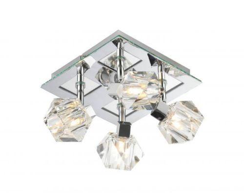 Dar-Lighting-Geo-4-spot-Light-Square-Plate-Polished-Chrome-ceiling-fit-GEO8550