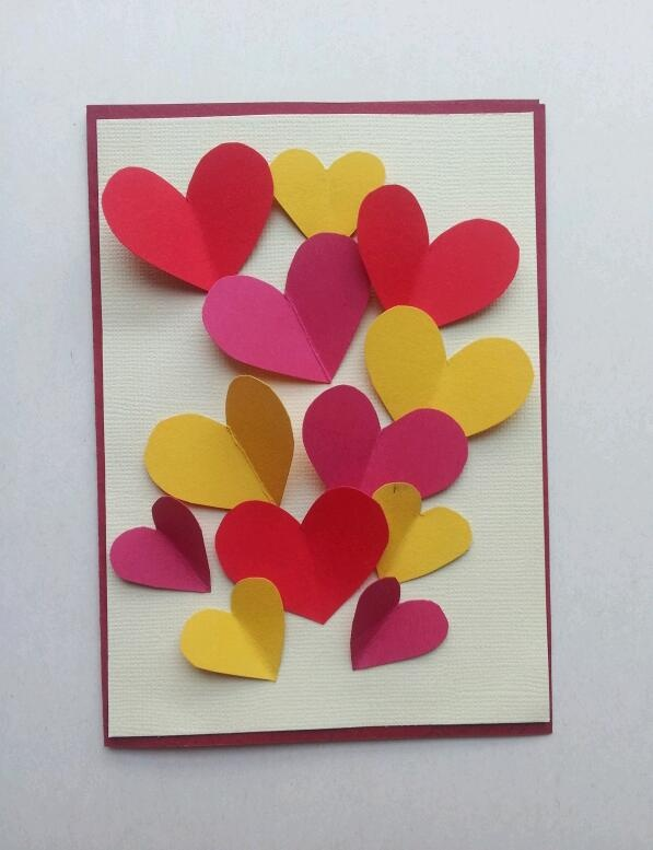 Yay, birthday card I made for my mum. Paper hearts :)