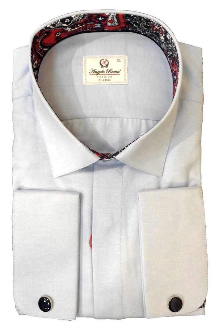 Голубая рубашка под запонки