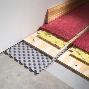 How to Carpet a Basement Floor. Prevent damp basement floors from ruining carpet and other finished flooring. Install dimpled polyethylene to create an air space between the concrete and the finished floor, sealing off dampness and giving moisture a chance to dissipate.