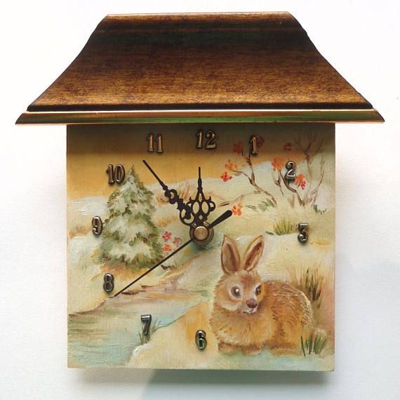 Unique hand painted wall clock Ready to hang This is funny little wall clock designed and manufactured by artist. The clock face is an ORIGINAL OIL PAINTING showing a winter landscape with a rabbit. #clock #miniature #wallclock #wildlife #rabbit #painting #handmade