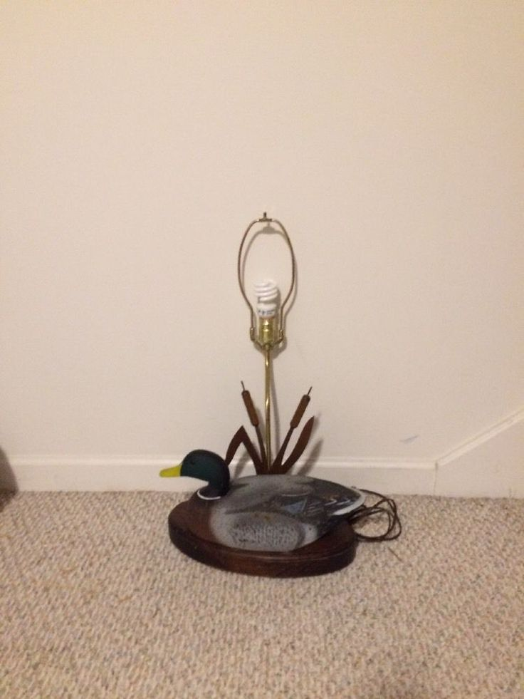 """Rare """"The Decoy Shop"""" Freeport, Maine 13"""" Mallard Duck Lamp With Cat Tails #TheDecoyShop"""