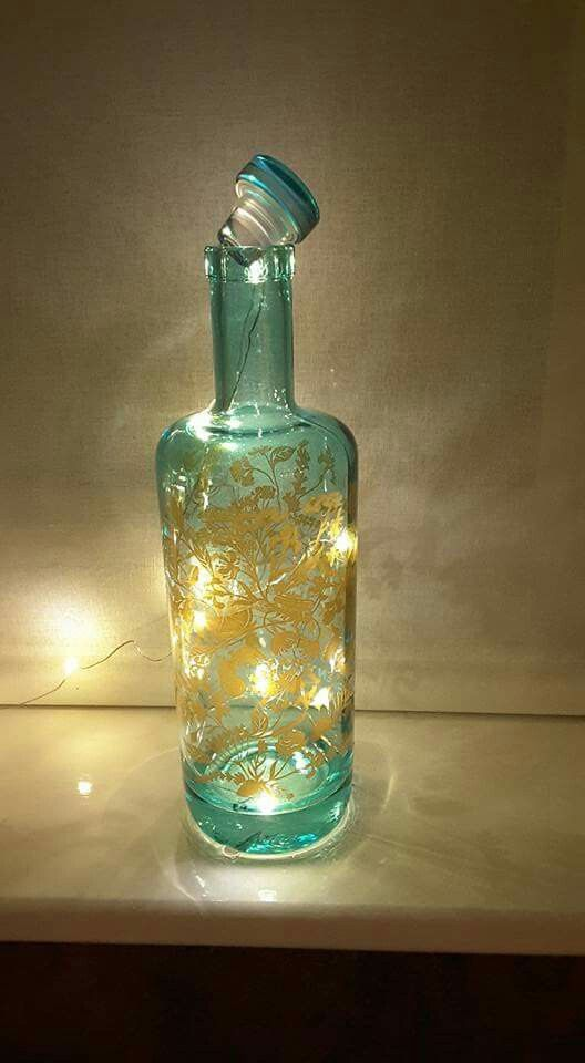 Empty Silent Pool Gin Bottle With Micro Fairy Lights