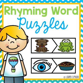 About: This puzzle set has the students match up words that rhyme. For example they will match the words lip and zip. There is also a matching worksheet for them to complete when they are done. Teacher prep needed: - Print out all pages.