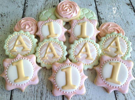 One Dozen (12) Shabby Chic First Birthday Decorated Sugar Cookies