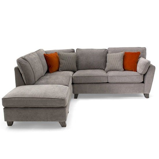 Carmela Fabric Left Corner Sofa In Silver With Wooden Legs
