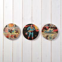 Superhero comic book trio of circles wall art - New