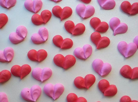 Pink and red royal icing hearts  Valentine's Day cake decorations and cupcake toppers by SweetSarahsBoutique on Etsy