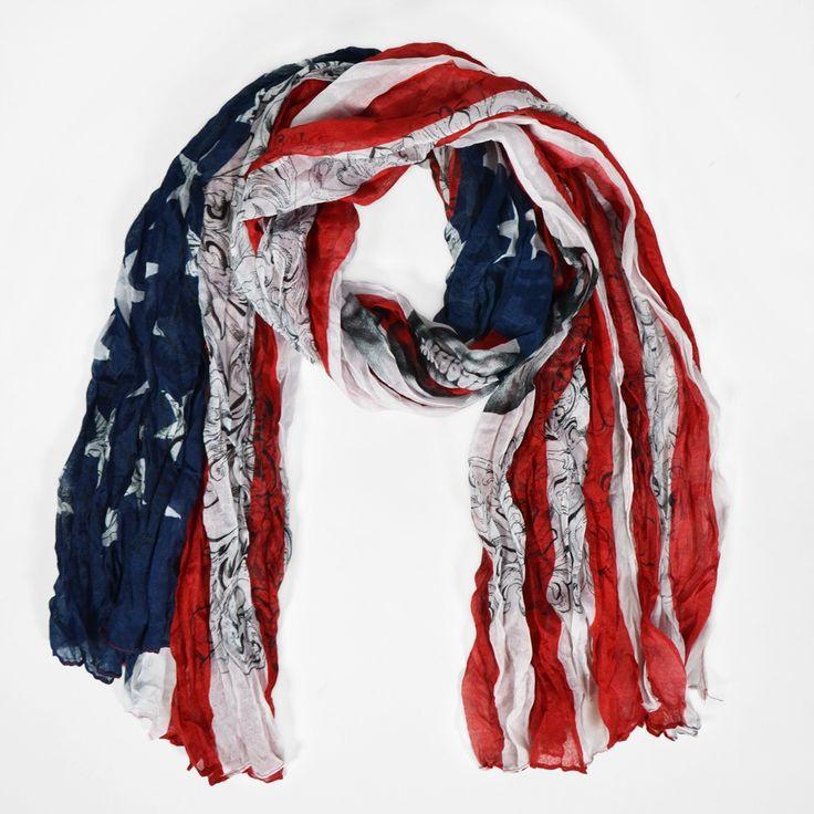 foulard drapeau américain, tête de mort et arabesque