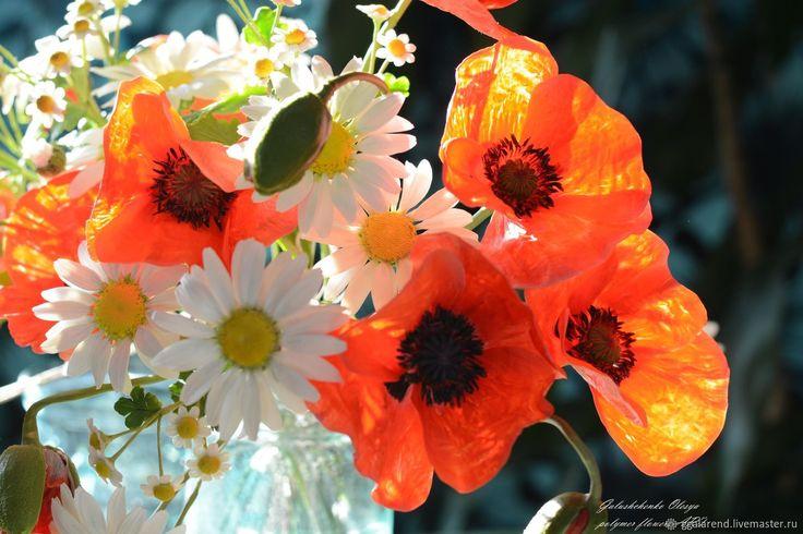 Купить Букет полевых цветов из полимерной глины - полевые цветы, цветы в интерьере, комбинированный