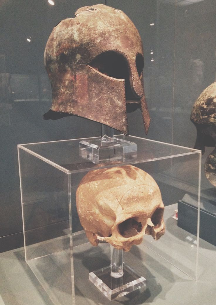 The Helmet and the Skull. This 'Corinthian' helmet has the unique distinction of being found on the ancient battlefield of Marathon, fought between the Athenians and the Persians. The modern-day marathon that we run received its name from the battle of Marathon. As a messenger Philippides had to run from Athens to Sparta to ask for help.