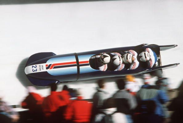 4 Man Bobsleigh, Great Britain II , T, De La Hunty, C,Rattigan, G,Robertson, A, Leonce at the 1988 winter Olympic Games in Calgary