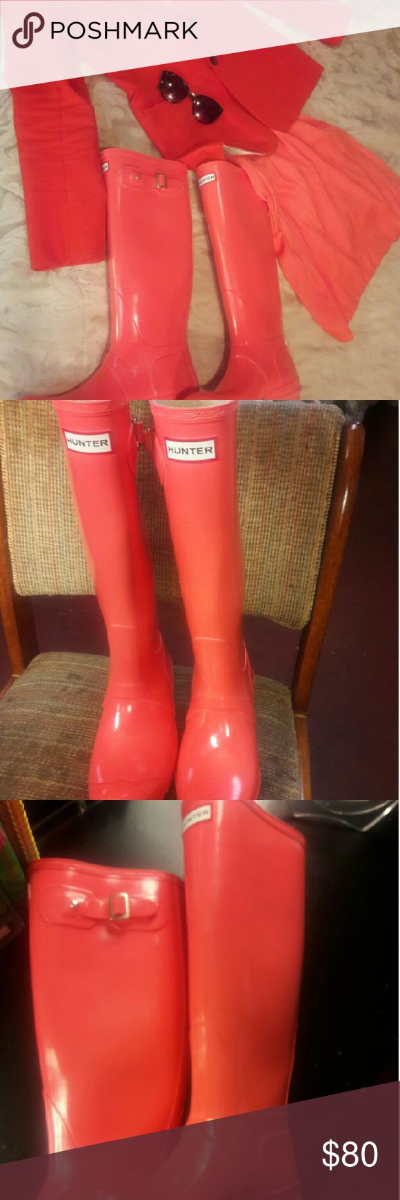 RARE Coral Hunter Boots Glossy , beautiful dark peach, orange- y, coral color. Not in oroginal box but not used. Very pretty!!! Hunter Boots Shoes Winter & Rain Boots