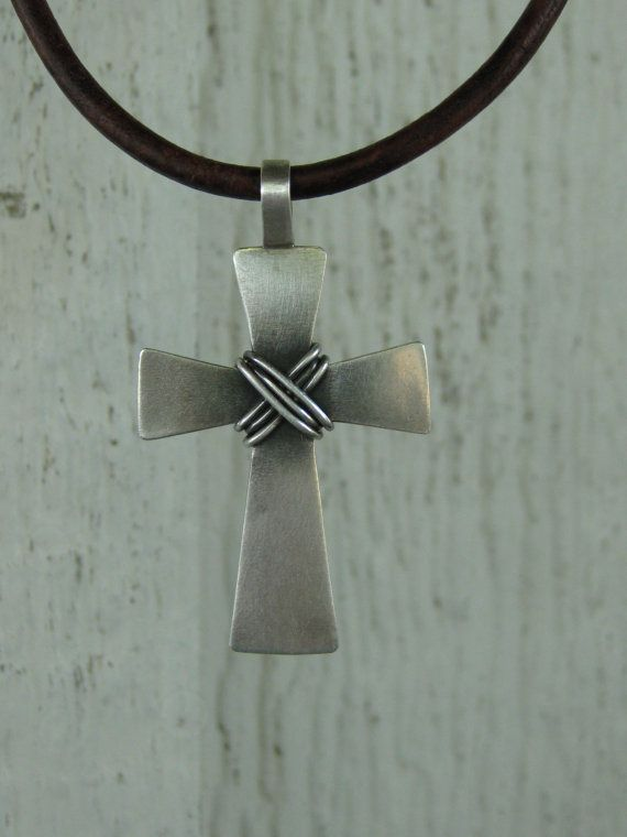 Cross pendant 128 pinterest mens cross necklace mens sterling silver cross forged silver cross leather cord mens rustic cross mens rugged cross mens cross jewelry mozeypictures Image collections