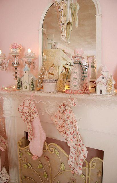 So Pretty Pink Shabby Christmas. Love The Stockings!