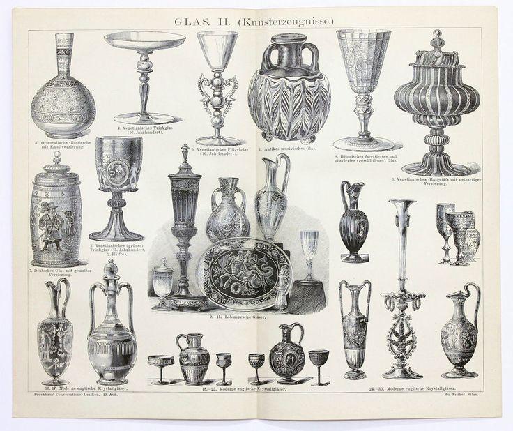 1884 German Engraving Glass Artifacts Vessels Steins Original German Brockhaus