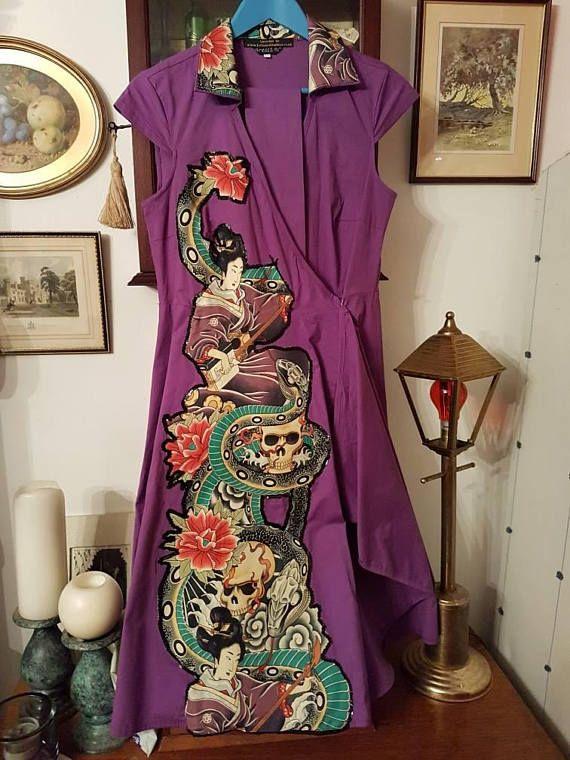 Geisha Purple Dress  Upcycled  Size 14