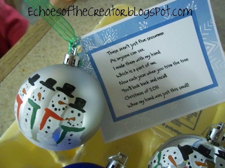 Christmas Gift Ideas For Kindergarten Parents : Homemade christmas gifts for parents snowmen and poem