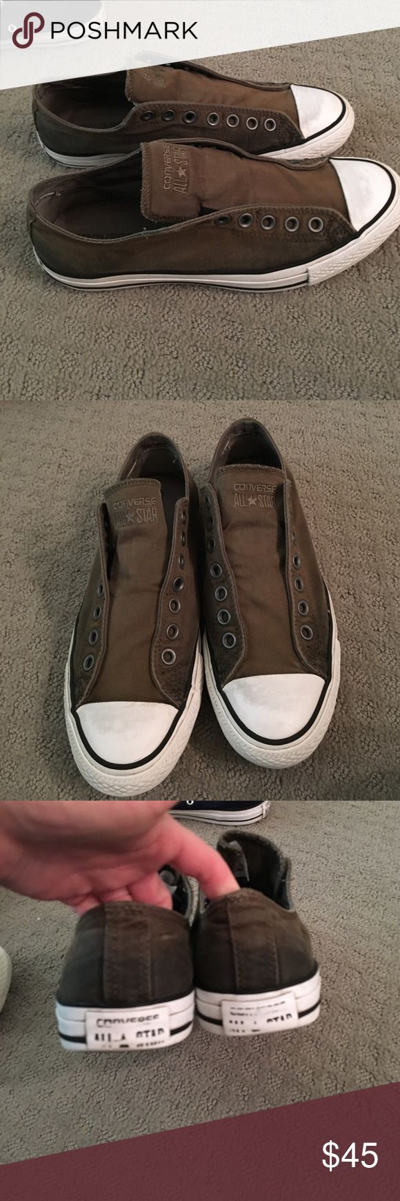 Converse mens size 8-1/2 = 9-1/2 Converse men's size 7-1/2 they run big so thy are size 9-1/2 olive green worn only a few times great condition they are like a olive green / brown Converse Shoes Sneakers