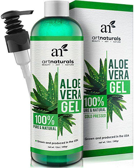 ArtNaturals Aloe Vera Gel für Gesicht, Haare & Körper - Zertifiziert organisch, 100% rein natürlich & kaltgepresst 12 Unzen - Für Sonnenbrand, Hautausschlag, Käfer- oder Insektenstiche, trockene und beschädigte alternde Haut, Rasurbrand und Akne