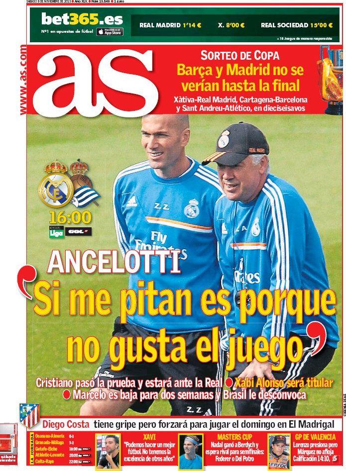 Los Titulares y Portadas de Noticias Destacadas Españolas del 9 de Noviembre de 2013 del Diario Deportivo AS ¿Que le pareció esta Portada de este Diario Español?