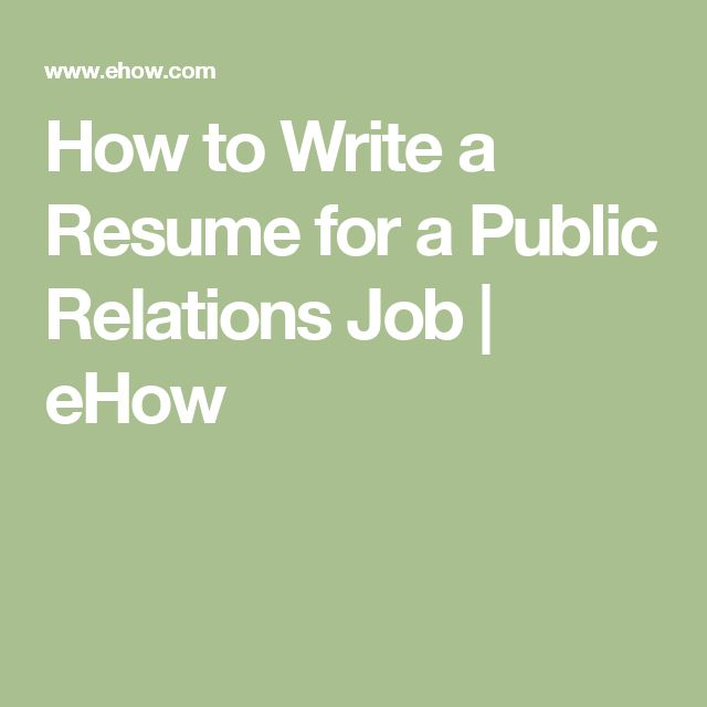 How to Write a Resume for a Public Relations Job | eHow #publicrelationsresume #publicrelationsjobs