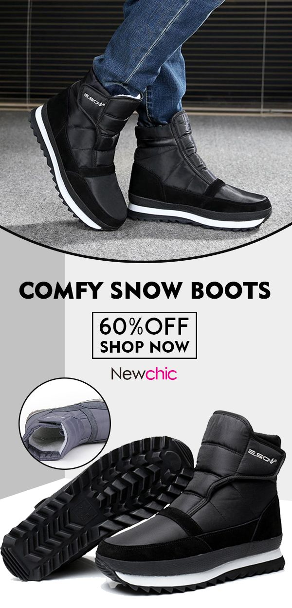 7b5d49fe3b1 What shoes to wear when cold day comes   60%off Men Plush Lining Waterproof  Hook Loop Snow Boots.  mens  boots  warm  winter  footwear  blackfriday ...