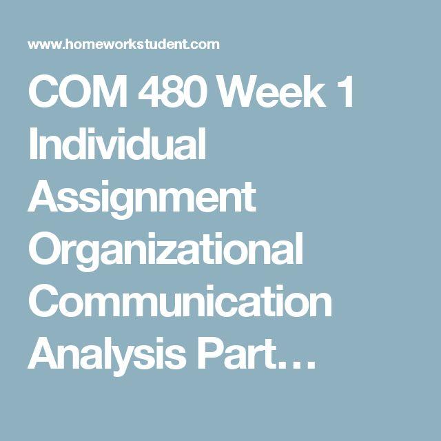COM 480 Week 1 Individual Assignment Organizational Communication Analysis Part…