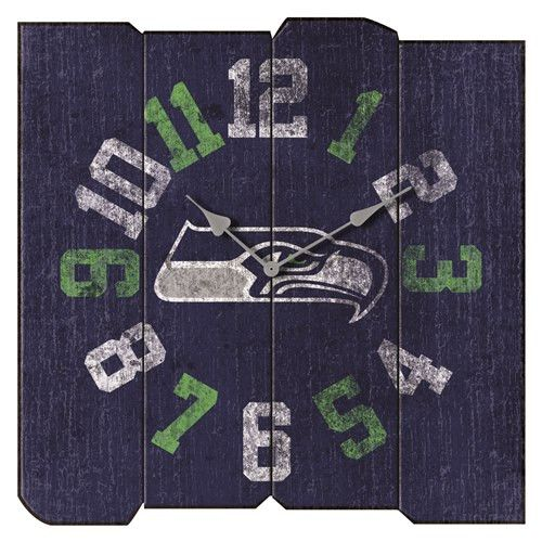 Show your team pride in any room of the house and know what time the big game starts with this Seattle Seahawks Vintage Square Clock by Imperial USA. This Officially Licensed clock highlights your fav