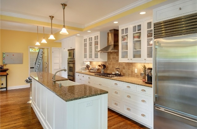 One wall open galley style kitchen with long island for Single wall kitchen designs