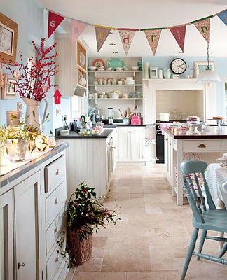 Bunting strewn kitchen ~ love it!: Dreams Kitchens, Vintage Kitchens, Kitchens Floors, Blue Wall, Interiors, Colors Room, Kitchens Ideas, Blue Kitchens, Country Kitchens