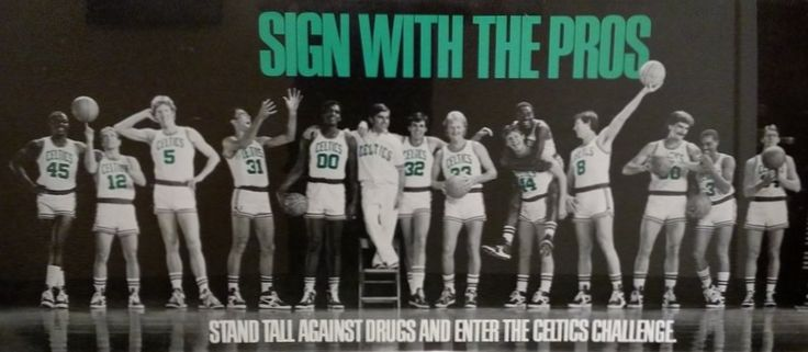 1986-87 Boston Celtics ''Sign With the Pros'' anti-drugs PSA ... From L to R: David Thirdkill (45), Jerry Sichting (12), Bill Walton (5), Fred Roberts (31), Robert Parish (00), Massachusetts Gov. Michael Dukakis (on chair), Kevin McHale (32), Larry Bird (33), Danny Ainge (44), Sam Vincent (on Ainge's back), Scott Wedman (8), Greg Kite (50), Dennis Johnson (3) and Rick Carlisle (34)