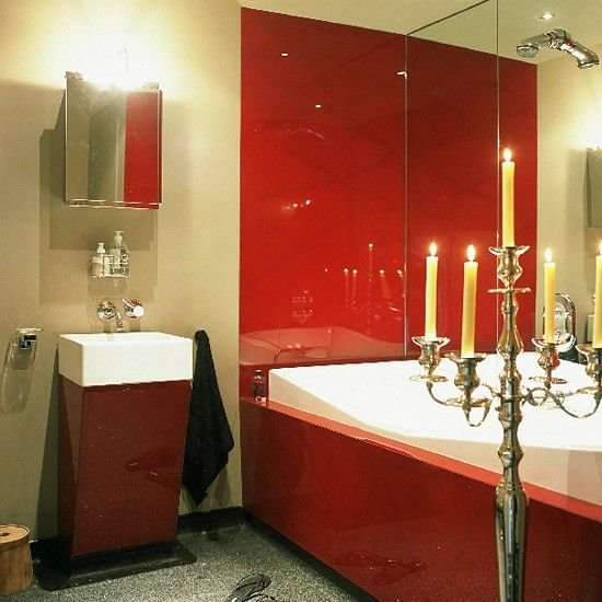 Oriental Style Bathroom With Red Lacquered Bath