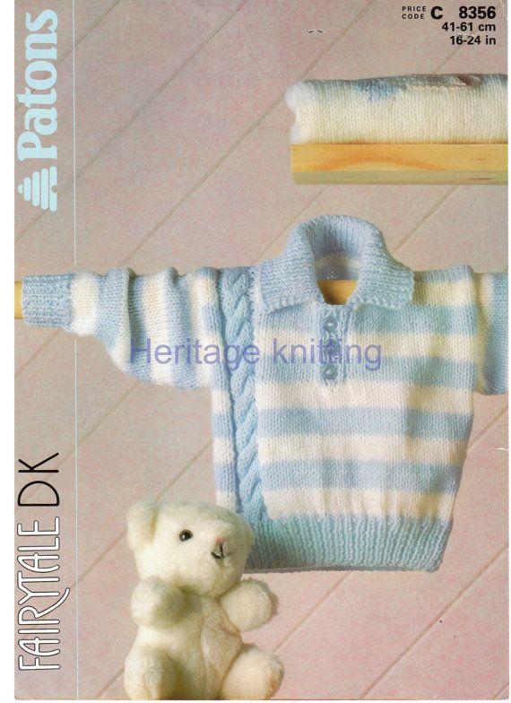 baby boys sweater dk knitting pattern by Heritageknitting1 on Etsy