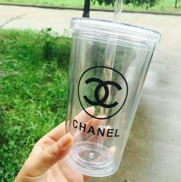 Thick Plastic Chanel Cup with Straw - Re-usable Cute replacement for a water bottle! This Chanel cup and straw is made of very thick plastic (Melamine). This is only made for cold drinks. NEW Chanel Accessories