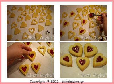 Μπισκότα καρδούλες με μαρμελάδα, τέλεια για τα Χριστούγεννα!
